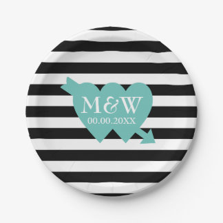 Black and white stripe pattern wedding plates 7 inch paper plate