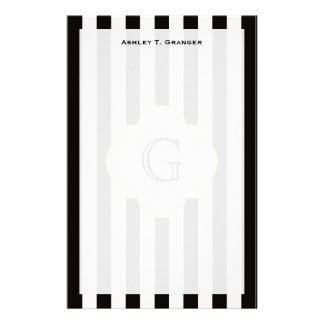 Black and White Stripe Pattern with White Monogram Customised Stationery
