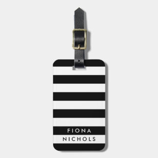 Black and White Stripe Personalized Luggage Tag