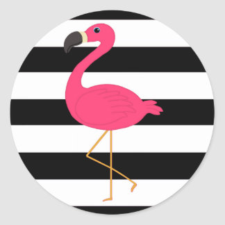 Black and White Stripe Pink Flamingo Round Sticker