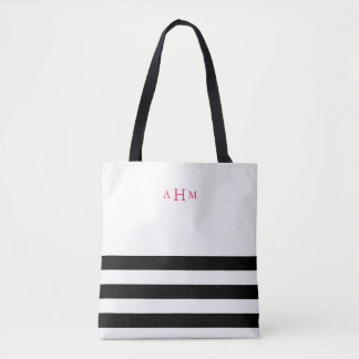 Black and White Stripe Pink Monogram Tote Bag