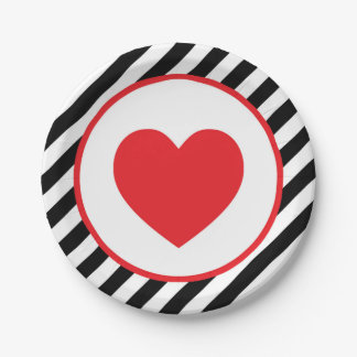 black and white stripe Red Heart Paper Plate