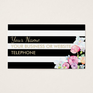 Black and White Stripe Watercolor Floral Business Card