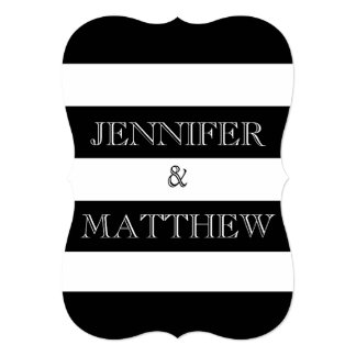 black and white stripe wedding invitation