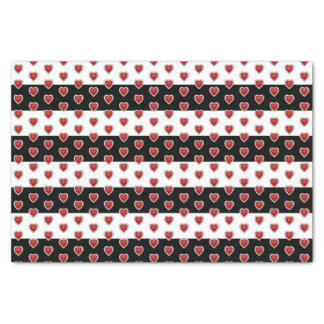 Black and White Stripe with Deep Red Hearts Tissue Paper