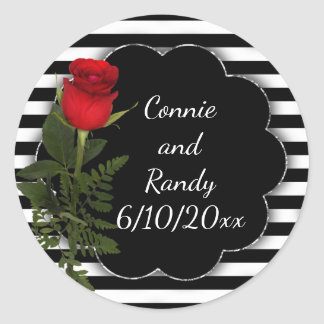 Black and White Stripe with Red Rose Sticker