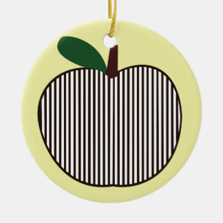 Black and White Striped Apple Round Ceramic Decoration