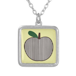 Black and White Striped Apple Square Pendant Necklace