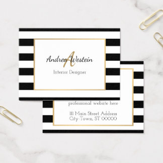 Black and White Striped Business Cards