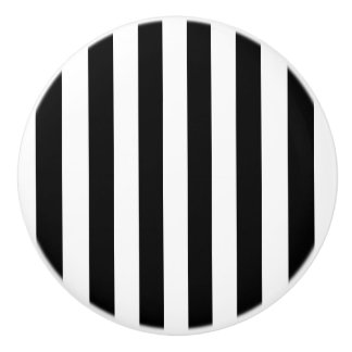 Black and White Striped Ceramic Knob