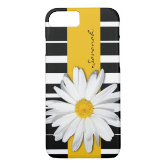 Black and White Striped, Daisy iPhone 7 Case