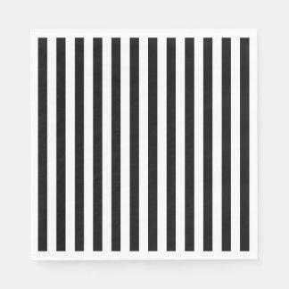 Black and White Striped Disposable Serviette