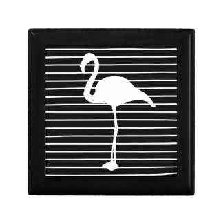 Black and White Striped flamingo Gift Box