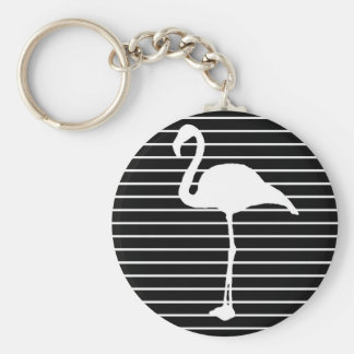 Black and White Striped flamingo Key Ring