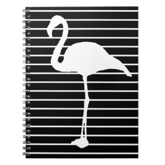Black and White Striped flamingo Notebooks