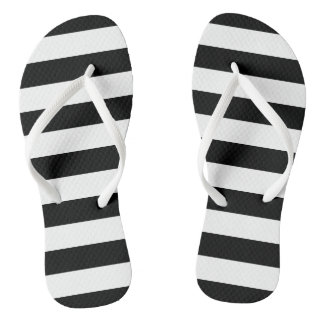 Black and White Striped Flip Flops Thongs