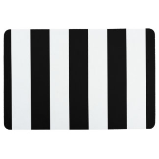 Black and White Striped Floor Mat