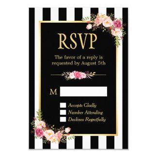 Black and White Striped Flowers Gold Frame RSVP 9 Cm X 13 Cm Invitation Card