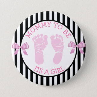 """Black and White Striped """"Its a Birl"""" Shower Button"""