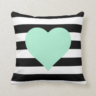 Black and White Striped Mint Heart Throw Pillow