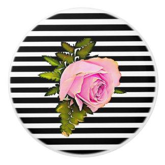 Black and White Striped Modern Rose Knob