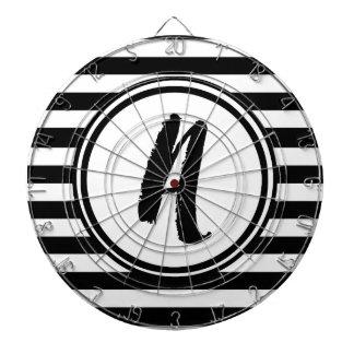 Black and White Striped Monogram - A Dartboards