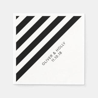 Black and white striped napkins disposable serviette