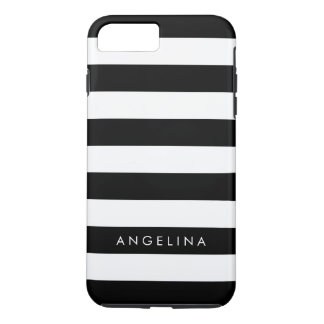 Black and White Striped Pattern Custom Name iPhone 7 Plus Case