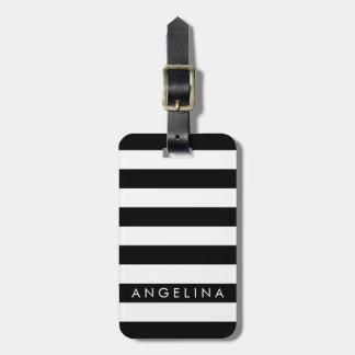 Black and White Striped Pattern Custom Name Luggage Tag