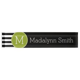 Black and White Striped Pattern Green Monogram Nameplate