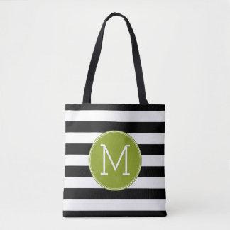 Black and White Striped Pattern Green Monogram Tote Bag