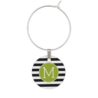 Black and White Striped Pattern Green Monogram Wine Charm