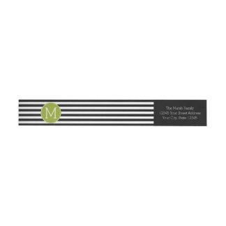 Black and White Striped Pattern Green Monogram Wraparound Return Address Label