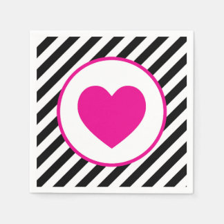 black and white striped Pink Heart Disposable Napkins