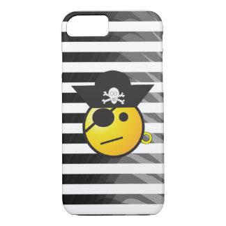 Black and White Striped Pirate Emoji iPhone Case
