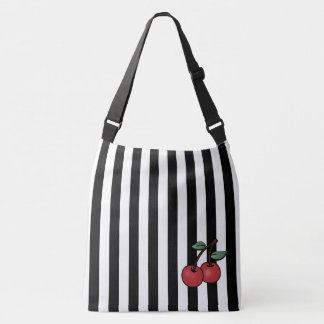 black and white striped rockabilly cherries bag