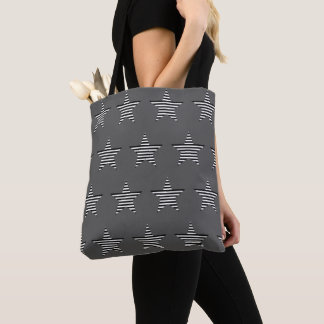 Black And White Striped Star Pattern Gray Tote Bag