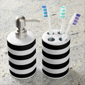 Black and White Striped Stylish Modern Decor Soap Dispenser And Toothbrush Holder