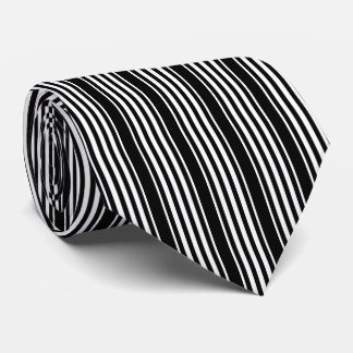Black and White Striped Tie with Vertical Stripes