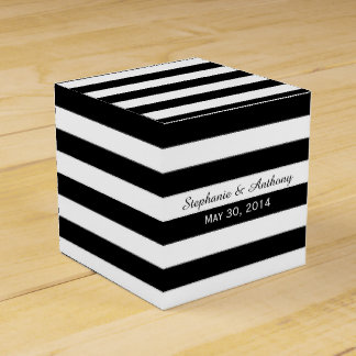 Black and White Striped Wedding Party Favour Box