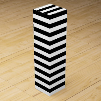 Black and White Striped Wine Bottle Gift Box