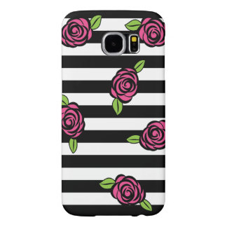 Black and White Striped with Pink Roses Samsung Galaxy S6 Cases