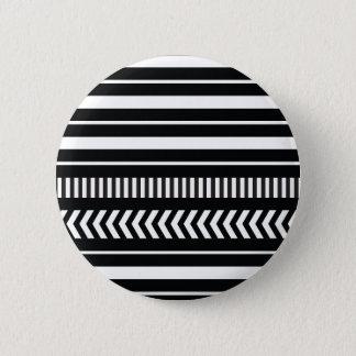 Black and white  stripes 6 cm round badge