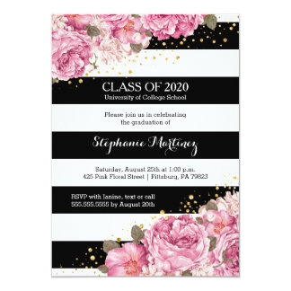 Black and white stripes and pink floral graduation card
