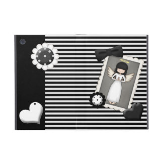 Black and White Stripes,  Angel and Embellishments iPad Mini Covers