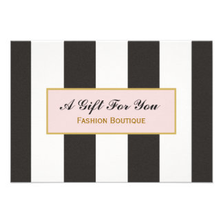 Black and White Stripes Boutique Gift Certificate Personalized Announcements