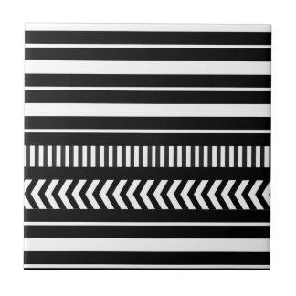 Black and white  stripes ceramic tile
