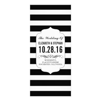 Black and white stripes chic wedding programs customized rack card