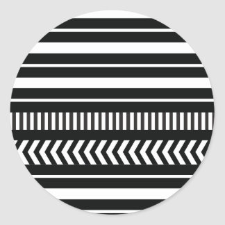 Black and white  stripes classic round sticker