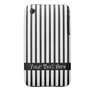 Black and White Stripes Customizable iPhone 3 Case-Mate Case